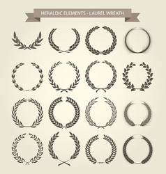 laurel wreaths set in different style vector image