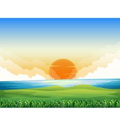 Nature scene with sunset vector