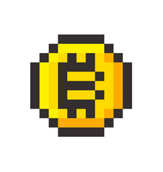 pixel bitcoin cripto currency blockchain golden vector image