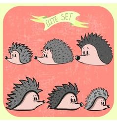 Set of cute cartoon hedgehogs vector
