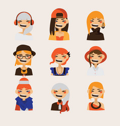 set with female hipster avatars smiling and vector image