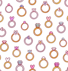 Shiny diamond rings pattern vector image
