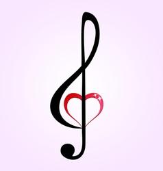 Shiny heart treble clef vector image vector image