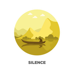 Silence template on logotype with isolated man in vector