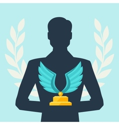 Silhouette of man holding prize vector
