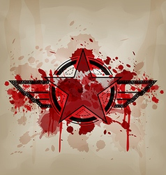 star symbol with blood war concept vector image vector image