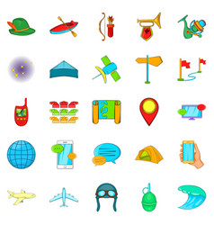 Traveling on the planet icons set cartoon style vector
