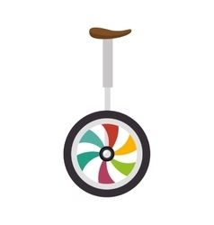 Unicycle colorful wheel vector