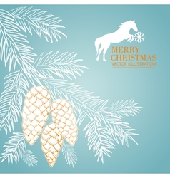Vintage blue christmas fir and pinecone vector