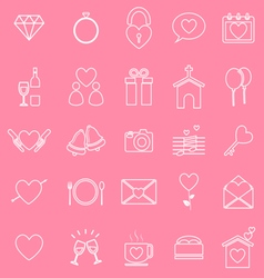 Wedding line icons on pink background vector image