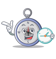 with clock compass character cartoon style vector image
