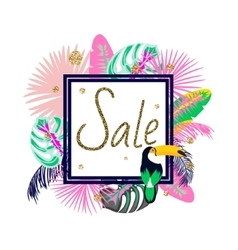 Frame banner for summer sale advertisement Palm vector image
