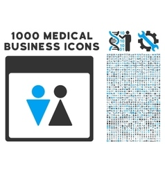 Wc persons calendar page icon with 1000 medical vector