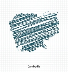 Doodle sketch of Cambodia map vector image