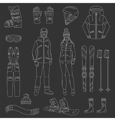 Ski and snowboard icons set vector