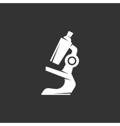 Microscope logo on black background icon vector