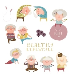 Sey of elderly people doing exercises vector