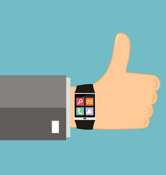 Smart watch on the hand vector