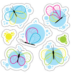 Bright colorful butterflies stickers set vector
