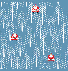 santa claus in forest seamless pattern white vector image