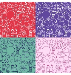 Set of christmas seamless pattern vector
