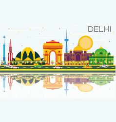 Delhi india skyline with color buildings blue sky vector