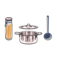 metal pot skimmer glass jar with lid sketch vector image