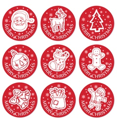 christmas round cards set vector image