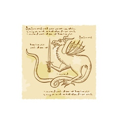 Dragon holding sword etching vector