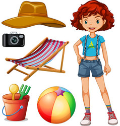 Female hipster and beach set vector image