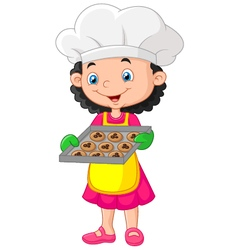 Litte girl holding baking tray with baking ready t vector