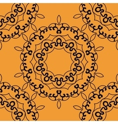 Seamless mandala in outlines on orange background vector
