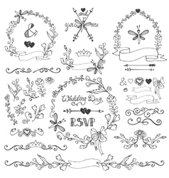 Doodles floral decor setborderswreathelements vector