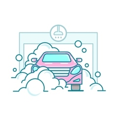 Car wash linear design vector