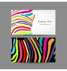 Business card colorful zebra print design vector