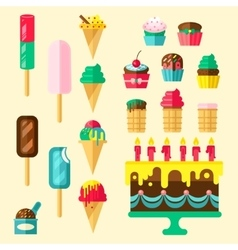 Sweets cupcakes icon set vector