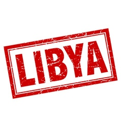 Libya red square grunge stamp on white vector