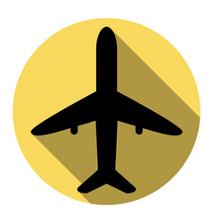 Airplane sign flat black vector