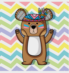 Animal bear tribal with feathers design vector