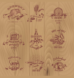 beer vintage design emblems set vector image vector image