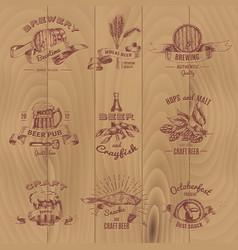 beer vintage design emblems set vector image