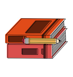 books with pencil vector image