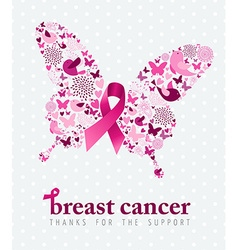 Breast cancer support poster pink ribbon butterfly vector image vector image