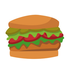 Burger fast food unhealthy wit tomato and lettuce vector