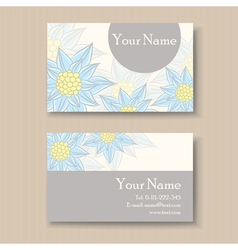 business card with blue flowers vector image