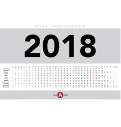 calendar 2018 horizontal template design vector image