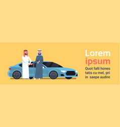 Car buying arab seller man giving keys to owner vector