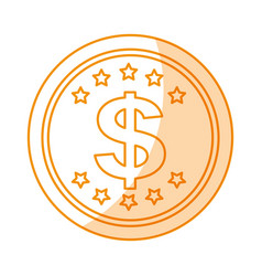Coin money dollar icon vector