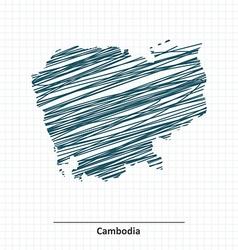 Doodle sketch of cambodia map vector