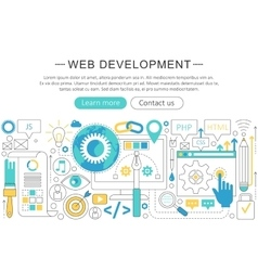 elegant thin flat line Web development vector image